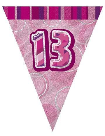 IdealWigsNet Bunting prismático '13' Rosa Glitz cumpleaños