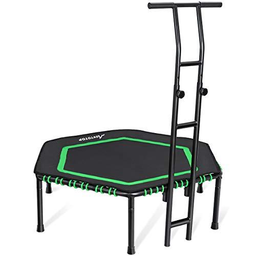 MOVTOTOP 48 Inch Indoor Trampolin mit Doppelgriff für Erwachsene & Kinder, Fitness Trampolin (Ø122cm), Trampolin für Zuhause- Bs120kg