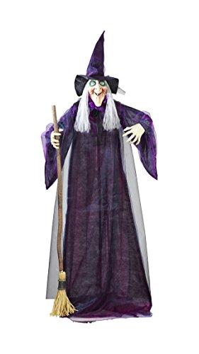 Kostüm Besen Machen - Widmann 01409 - Drehende und sprechende Hexe mit leuchtenden Augen, Größe Circa 183 cm