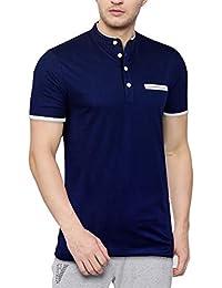 Seven Rocks Men's Cotton Stand Collar Full Sleeve T-Shirt (T15HS-NB)