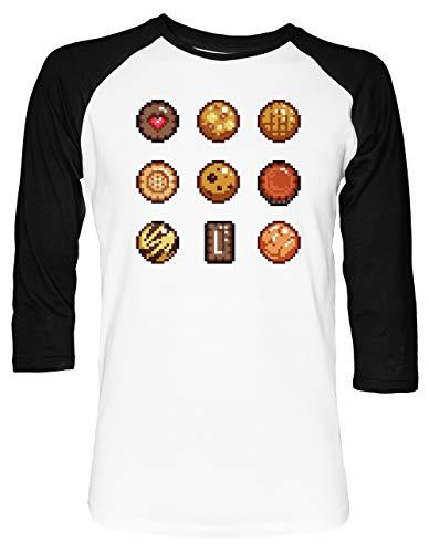 Kekse & Kekse Unisex Baseball T-Shirt 2/3 Ärmel Herren Damen Weiß Schwarz