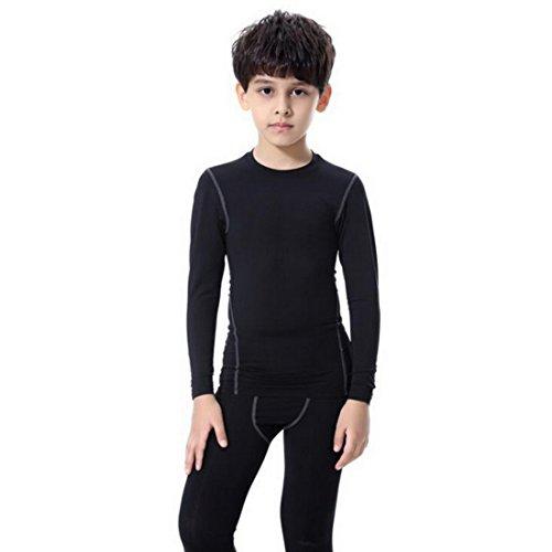 Aelegant 1 Stück Jungen Kinder Sportbekleidung Schnelltrockend Sport Langarmshirt Fitnessshirt Einfarbig Oberteile oder Fitness Leggings Sporthose kurz