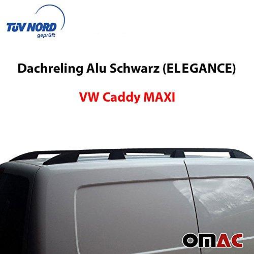 W Caddy MAXI ab 2010 mit TÜV / ABE Dachreling Alu Schwarz (Elegance)