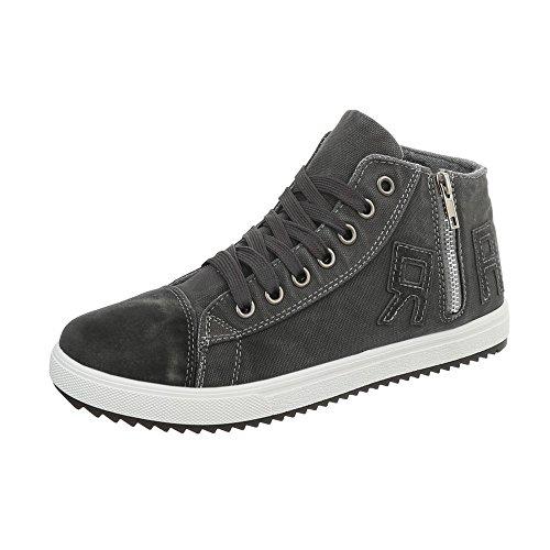 Ital-Design High-Top Sneakers Herren-Schuhe High-Top Sneakers Schnürer Schnürsenkel Sneaker Grau, Gr 45, N-10-1- (Herren Grau High-top-schuhe 10)