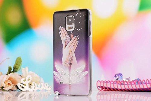 Crazy Genie 3D Handgefertigt Kristall Blumen Strass Bling Diamonds Hard Cover Case für Samsung Galaxy Note 4View N910C Schutzhülle Cute Stereo Shell, Beautiful Hands - Case Note4 Samsung Bling