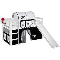 Preisvergleich für Lilokids Spielbett JELLE mit Rutsche und Vorhang Kinderbett, Holz, weiß, 208 x 98 x 113 cm
