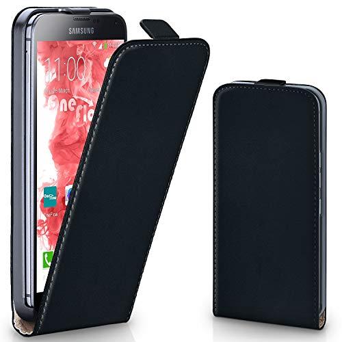 moex Samsung Galaxy S5 | Hülle Schwarz 360° Klapp-Hülle Etui thin Handytasche Dünn Handyhülle für Samsung Galaxy S5 / S5 Neo Case Flip Cover Schutzhülle Kunst-Leder Tasche
