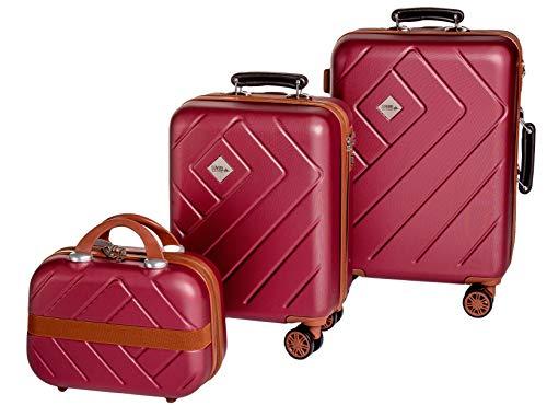Enrico Coveri Moving Set Due Trolley + Beauty Case da Viaggio, Valigie Rigide ABS Viola e Marrone in Due Dimensioni