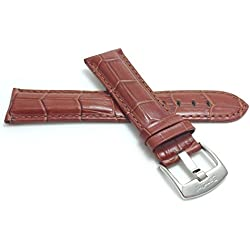 Mens' Alligator Style Genuine Leather Watch Band Strap, Available Band Widths 18mm, 20mm, 22mm, 24mm, 26mm, 28mm, 30mm (All sizes come in XL also), Comes in Black, White, Royal Blue, Brown and Tan