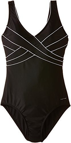 Nickey Nobel Damen 60.32.8134 Ladies Bathingsuit Crossed Pipings - Bernice Badeanzug, Schwarz, 44