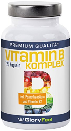 Gloryfeel Vitamin B Komplex mit Pantothensäure, Folsäure, Vitamine B1, B2, B6, B12, 120 Kapseln, 1er Pack (1 x 0.065 kg)