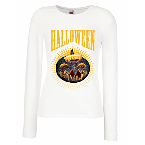 Weibliche langen Ärmeln T-Shirt Halloween Kürbis - Party Kostüm Ideen 2017 (Large Weiß (Halloween Für Kreative 2017 Kids Kostüme)