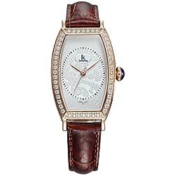 Fashion Simple Creative Rectangle Luxury Rhinestones Leather Strap Quartz Women Wrist Watch,Gold-Brown
