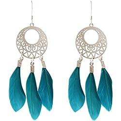 Gemshine - Pendientes - Atrapasueños - Plata - Boho - Azul - Plumas - 7 cm