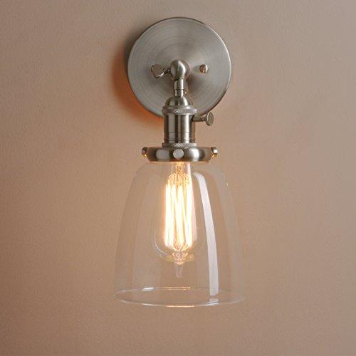 Pathson Antik Deko Design Kleine Glocke Klar Glas innen Wandbeleuchtung Wandleuchten Loft-Wandlampen Wandbeleuchtung (Gebürsteter Edelstahl Farbe)