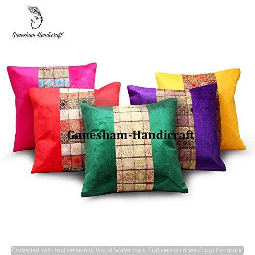 848dfdf7cd Indian Handmade Decorative Silk Brocade Zari Traditional Home & Living Room  Decor Cushion Cover Vintage Pillowcases