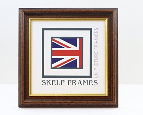 Skelf Frames Holz, mit Gold-Inlay, Quadratischer Bilderrahmen mit Glas, 16x 35mm,