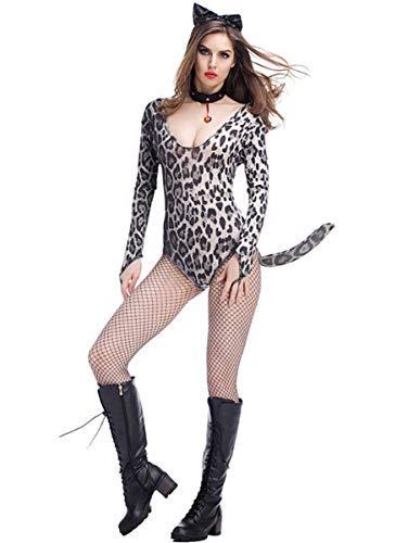 Kostüm Girl Frauen Cat - Fanessy. Sexy Catwoman Kostüm Set für Damen Cat Girl Kostüm Catsuit Frauen Leoparden Kostüm Cosplay Jumpsuit Verkleidung Outfits für Fasching Halloween Karneval Party