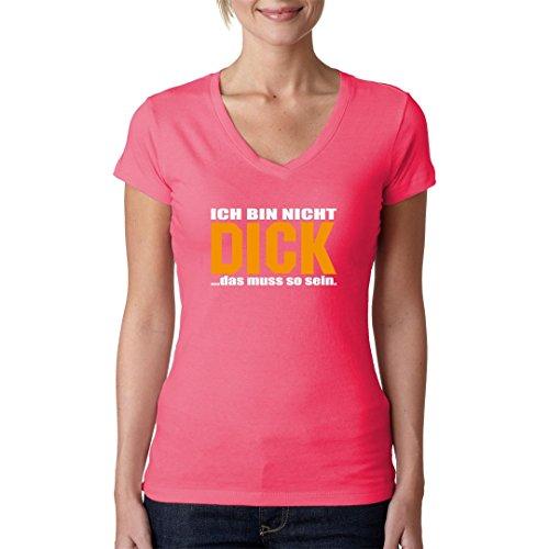 Fun Sprüche Girlie V-Neck Shirt - Ich bin nicht dick! by Im-Shirt Light-Pink