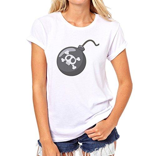 Bomb Atom Boom Fire Skull Damen T-Shirt Weiß