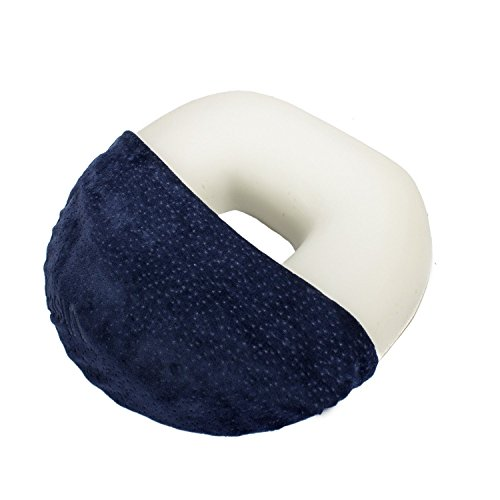 Cuscino a ciambella Salosan - Cuscino in schiuma Memory di aiuto contro le emorroidi e di sollievo alla zona sacrale composto da schiuma viscoelastica (blu)