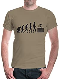buXsbaum® Herren Unisex Kurzarm T-Shirt bedruckt The Evolution of Bricklayer | Maurer Handwerker