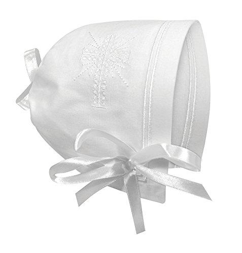 Stephan bebé recuerdo Cutwork Pañuelo bautizo Bonnet con dobladillo recto, color blanco