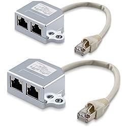 kwmobile 2X Doubleur câble réseau - Répartiteur Cat. 5e RJ45 fiche Alimentation 2X RJ45 réseau LAN - Distributeur Adaptateur T vers 2X Ethernet