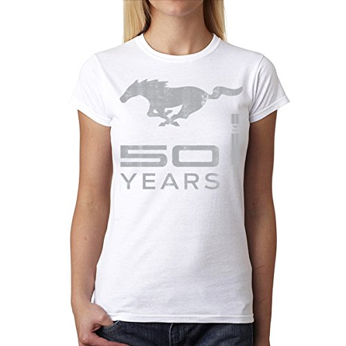 Ford Mustang 50 Anni Logo Argento Donna T-shirt Bianca L