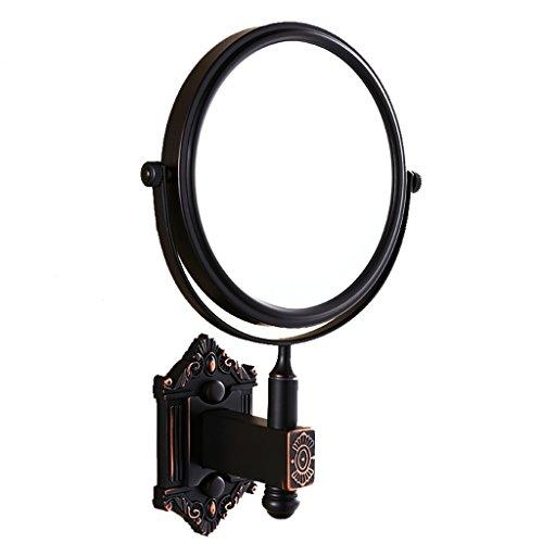 Miroir Miroir de maquillage miroir télescopique noir miroir de beauté en cuivre noir double face miroir de pliage miroir