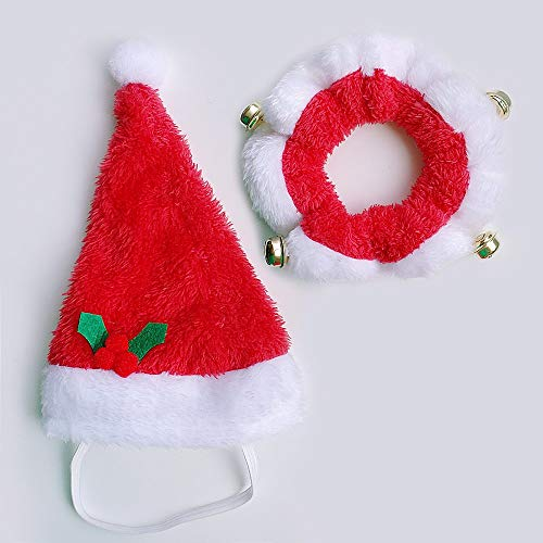 2pcs Weihnachten Haustier Hund Zubehör Halsband Hut Katze Zubehör Cap Heimtierbedarf Hunde Weihnachtsdekoration Ornament Jingle Bell-Red, Hals 20-26cm -