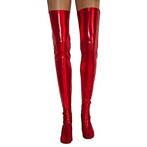 Damen Halterlose Strümpfe FORH Frauen Sexy PU-Leder Strümpfe Versuchung Wetlook Lang Socken Overknee Strümpfe Stretch Stocking Optik Oberschenkel Reizwäsch (Rot A) -