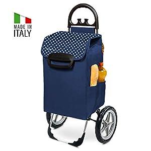Einkaufstrolley XXL Kiley mit großen Rädern in blau mit 78L – extra großer Einkaufsroller Einkaufshilfe Trolli 50kg belastbar