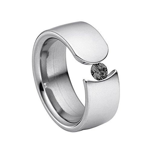 Schwarze 3-stein Diamant-ring (Heideman Damen-Ring figura poliert Gr.56 Swarovski zirconia schwarz 4 mm Ringe mit Stein Zirkonia Diamant Edelstahl Größe 56 (17.8) hr1004-3-10-56)