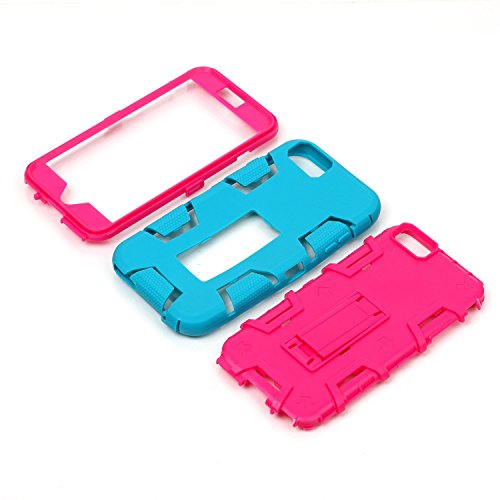 HYAIT® For APPLE IPHONE 6 PLUS 5.5 Case[C2][COLOR LINE][Holder] TPU+PC Premium Hybrid Shockproof Kickst Bumper Full-body Rugged Dual Layer Stents Cover-GREEN&ROSE IPHONE 6 5.5-C2-BLUE&ROSE