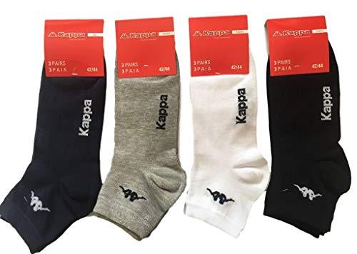 Kappa conf. 6 paia calzino corto alla caviglia unisex - art. k004 in cotone. disponibile nei colori bianco, nero, blu e grigio (42/44, nero)