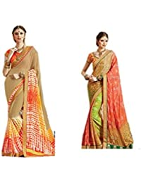 Mantra Fashions Women's Georgette Saree (Mant42_Multi)-Pack of 2