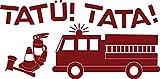 GRAZDesign 730269_50_030 Wandtattoo für Kinderzimmer Schriftzug Tatü! Tata! Feuerwehr | Wand-Deko für Jungen/Jungs (102x50cm//030 dunkelrot)