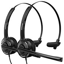 Mpow Computer Headset, 3.5mm/USB Headset with Noise Cancelling Mic, 40mm Stereo-Driver, PC Wired Headset with Clear Conversation for Conference Halls, Phone, Laptop, Tablet(2 Pack)