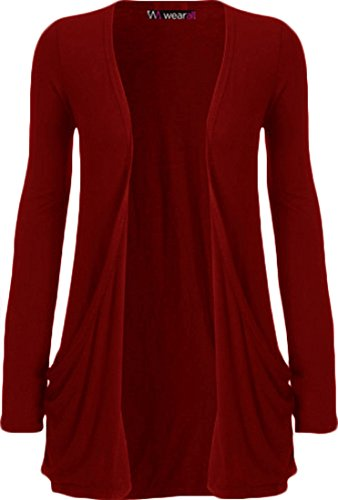 WearAll - Ladies Long Sleeve Pocket Cardigan Womens Top - Plum - 12 / 14