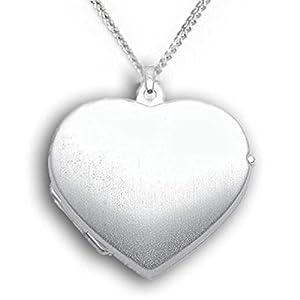 Medaillon Amulett Herz 925 Silber für 2 Fotos / Bilder Herz-Anhänger mattiert. Von Haus der Herzen®