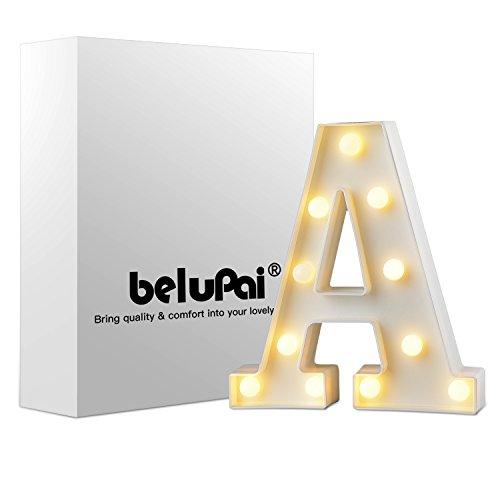 Alfabeto de luces LED para decoración, luces de letras blancas, luces con pilas, para fiestas, bodas, recepciones, fechas especiales, bares, etc A Talla:8.86'(L)*6.69'(H)*1.77'(W)