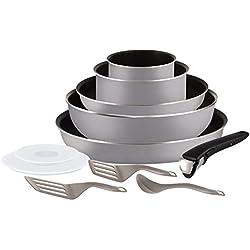 Tefal L2149902 Set de poêles et casseroles - Ingenio 5 Essential Gris Scottish 11 Pièces - Tous feux sauf induction