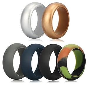 Funria Silikon Ehering für Männer, Silikon Gummibänder Ring 6 Farben mit Metall Silber und Metall Gold, Camouflage, Grau, Schwarz, Dunkelblau Fit für Sport und Outdoor