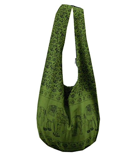 BenThai Products, Borsa a tracolla donna Nero Green ME14 large Green ME14