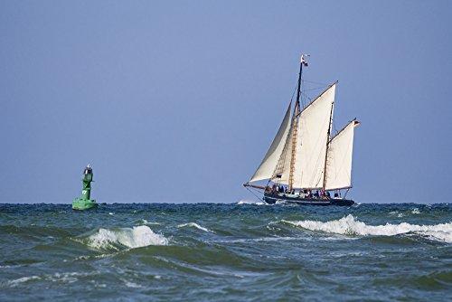 Artland Qualitätsbilder I Alu Dibond Bilder Alu Art 90 x 60 cm Fahrzeuge Boote Schiffe Foto Blau C0DD Segelschiff auf der Ostsee