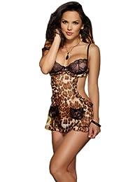Dreamgirl geschnittenes Babydoll/String Farbe Leopard/Schwarz Größe M