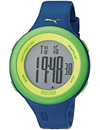 Puma Fit Unisex Digital Watch with LCD Dial Digital Display and Green Plastic or PU Strap
