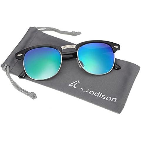WODISON Retro pagina mezza Occhiali da sole cerchiati proteggere dai raggi (Occhiali da sole)