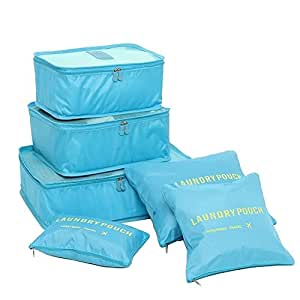 NOVAGO Set di 6 Organizzatori per valigie di dimensioni diverse, modelli colorati e stampe (Blu)